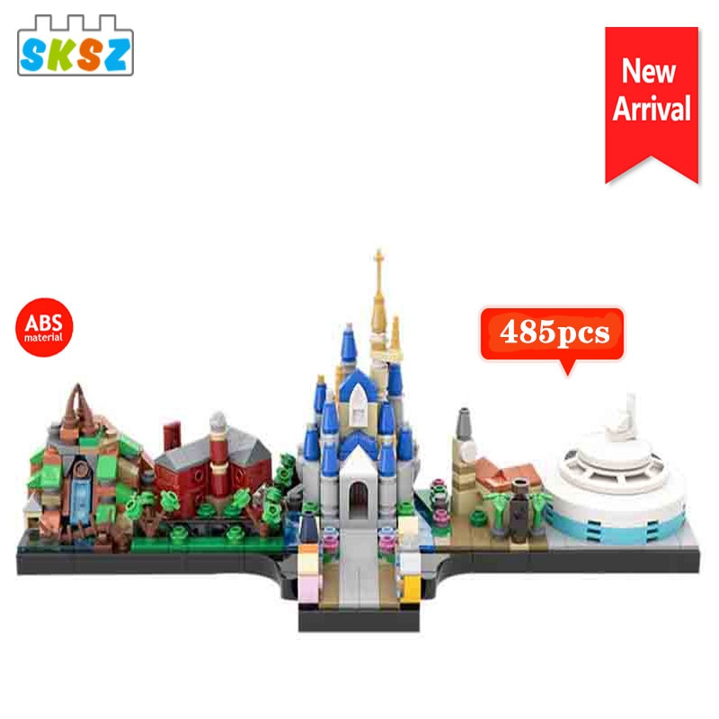 military city the way building blocks obstacle block model moc compatible city street view ww2 scenes diy christmas gift toys MOC Skyline City Street View Model Magic Kingdom 485pcs Building Blocks Bricks Toy Kid Educational Christmas Gift for Children