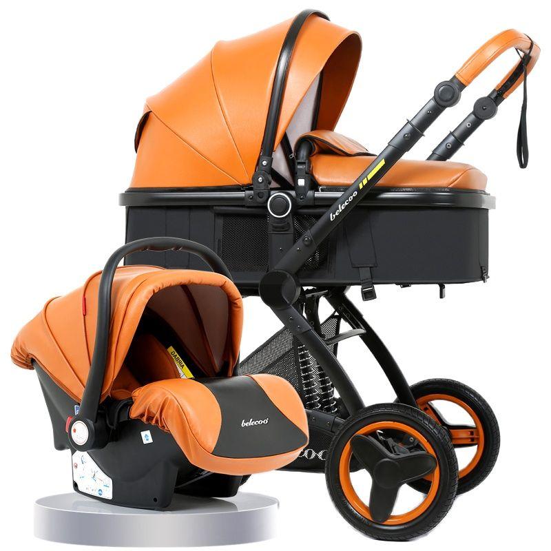 سلة عربة أطفال عالية الرؤية ، يمكن الجلوس والاستلقاء ، عربة أطفال قابلة للطي في اتجاهين ، امتصاص الصدمات