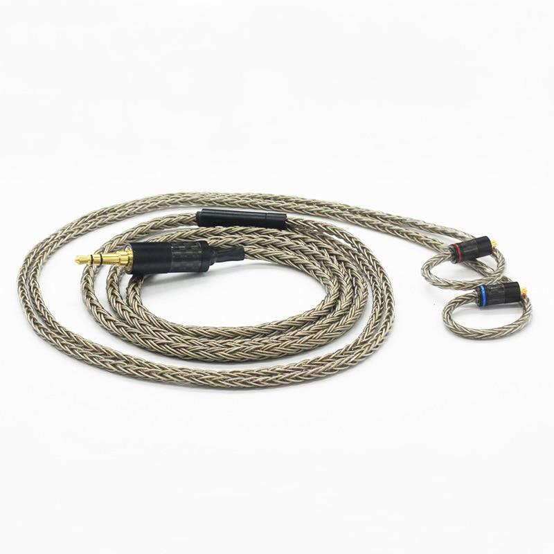 Cable de auricular para bricolaje cable Chapado en plata de 16 núcleos ie80 mmcx 0,78mm A2DC 2,5mm/3,5mm/4,4mm enchufe