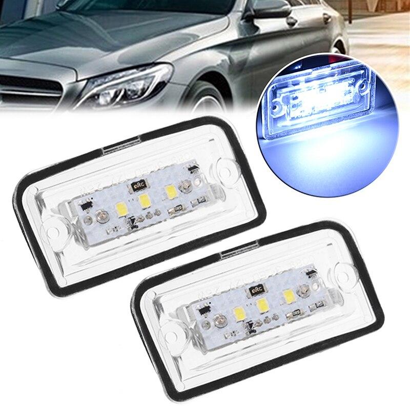 Luces de matrícula de coche 2 uds luz LED para placa de matrícula 6000K Super brillante marco para matrícula para Mercedes Benz CLK280 500 W209