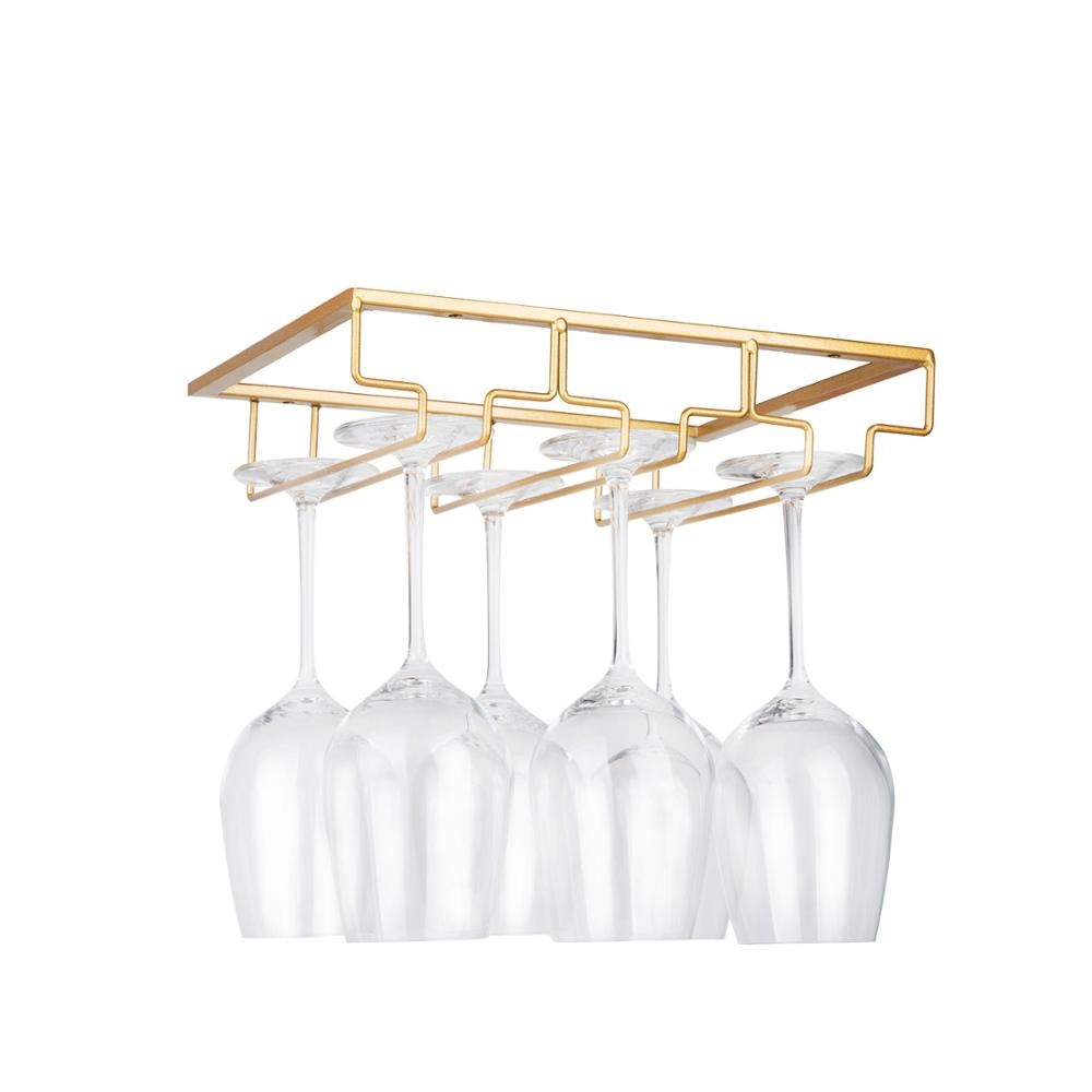 Wine Glass Rack - Under Cabinet Stemware Wine Glass Holder Glasses Storage Hanger Metal Organizer for Bar Kitchen Gold