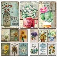 Plaque de tournesol en metal Vintage  Plaque decorative de cuisine douce pour la maison  sabby Chic  decoration murale de jardin de cour