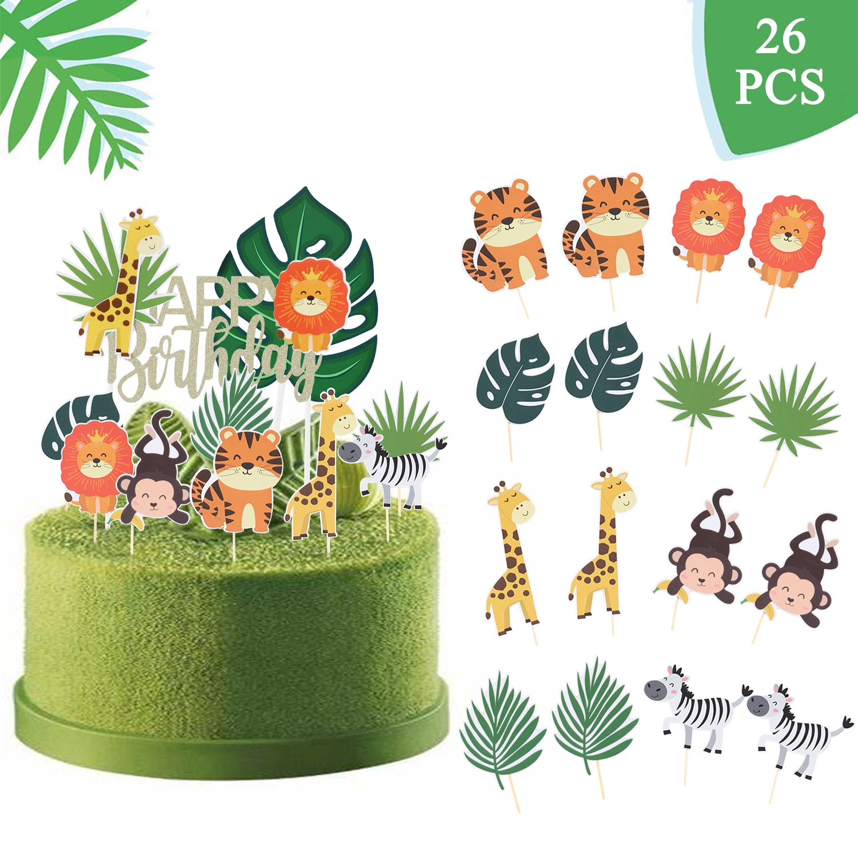 26Pcs Jungle Cartoon Animal Birthday Party Cake Topper Decoration Supply Lion Zebra Tiger Cupcake Happy Banner for Kid