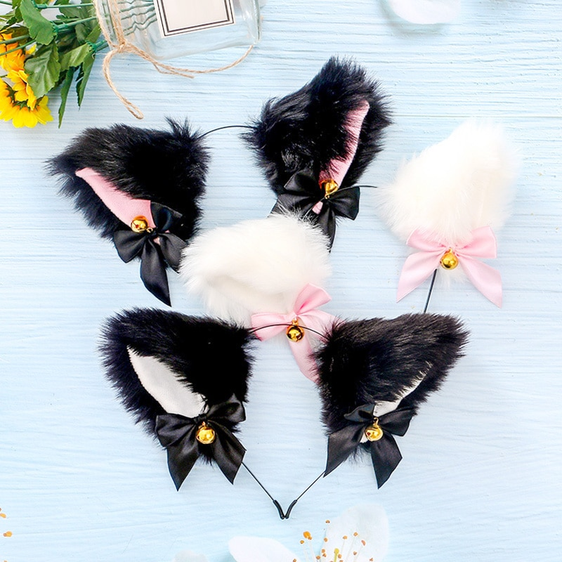 15 Colors Beautiful Masquerade Halloween Cat Ears Cosplay Cat Ear Party Costume Bow Tie Bell Headwea