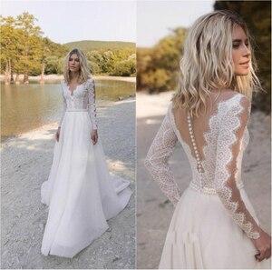 2021 Boho Wedding Dress  Long Sleeve A-Line Lace Appliques Tulle V-Neck Robe De Mariee Charming For Women Vintage Rustic Civil