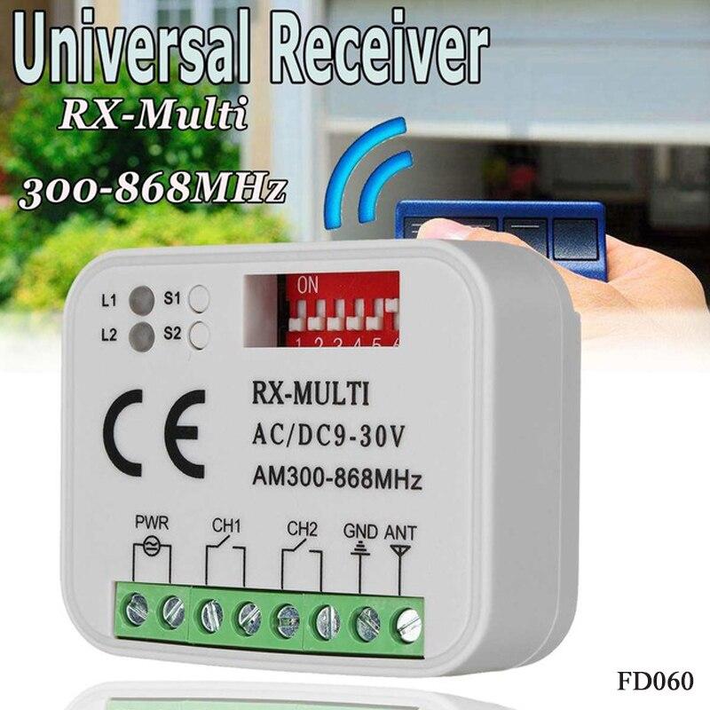 300-900mhz Control remoto de código rodante 868 MHz receptor multifrecuencia universal