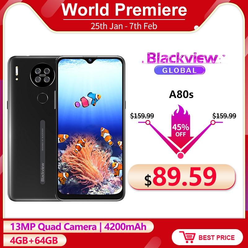 Blackview a80s 4gb + 64gb 4200mah smartphone 6.21 hd hd hd + android 10.0 octa núcleo 13mp quad câmera face id desbloquear 4g telefone móvel
