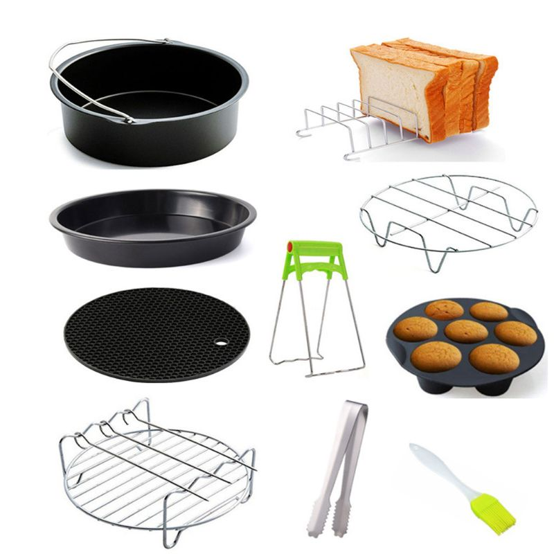 9pcs/set 6/7/8 Inches Air Fryer Accessories Pizza Tray Grill Toast Rack Steam Rack Insulation Pad 3.