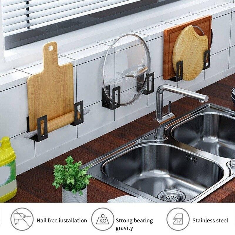 Placa de corte de aço inoxidável, 2 peças, economizador de espaço, suporte de montagem na parede, organizador da pia, prateleira da cozinha