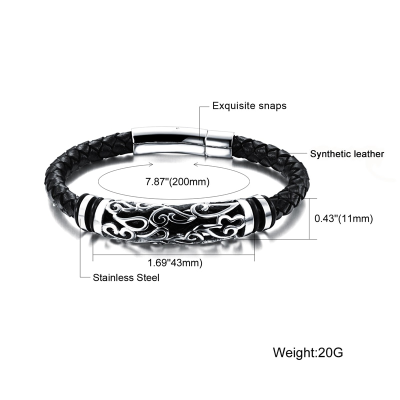 Fashion Bangles Hot Brand Jewelry Men Leather Bracelets Male Vintage Stainless Steel Exquisite Snaps