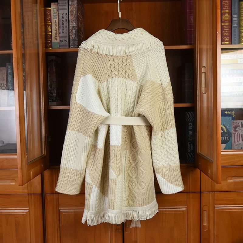 Europe Style Hot Fashion Women's Tassels Belt Cardigans Top Spring Autumn High quality Designer women's knitted overcoat C589 enlarge