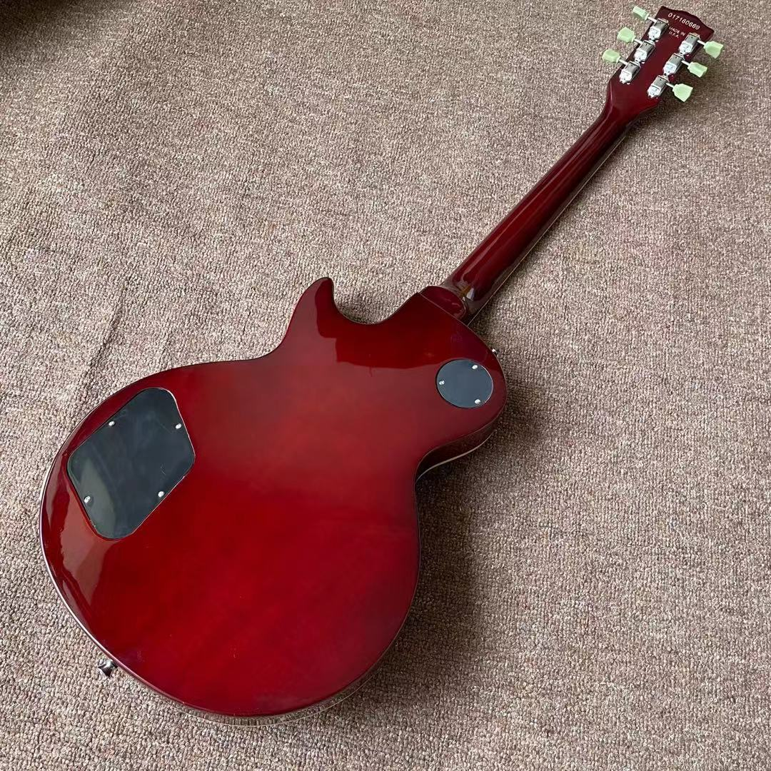 one piece Neck one piece body electric guitar in sunburst ,Upgrade Tune-o-Matic bridge guitar Tiger Flame guitar red colour enlarge