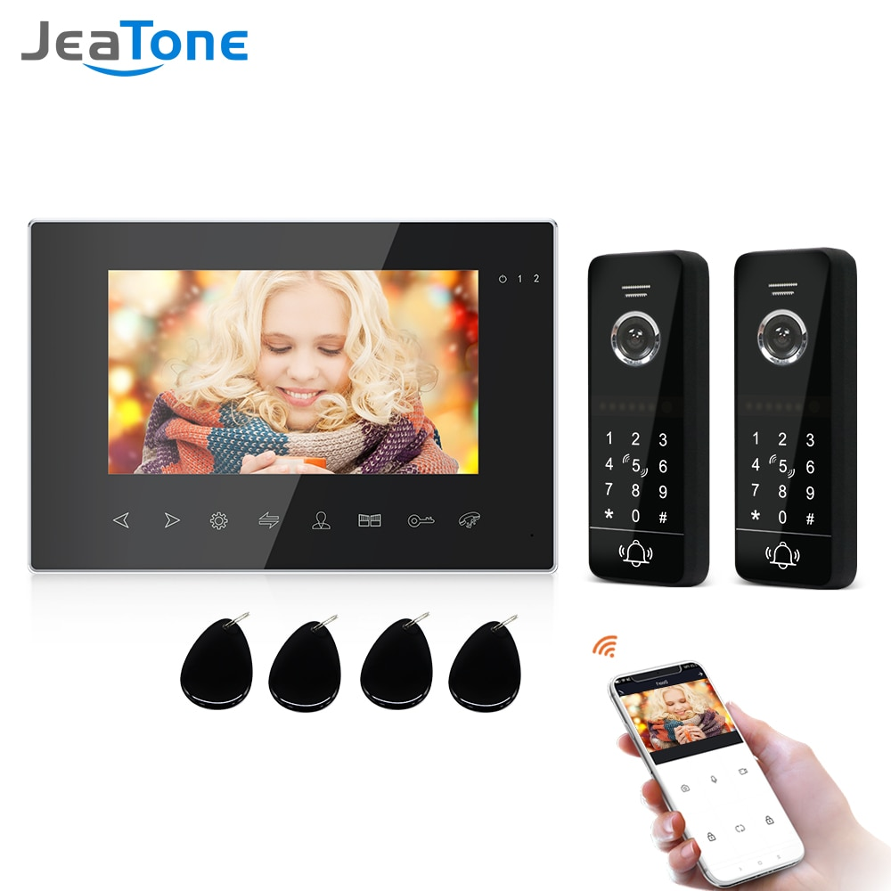 Jeatone Wirless Wifi Video Intercom With IR Video Door Bell Support Password Unlock RFID Card For Home Access Control