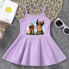 Girl dress child Masha & Bear cartoon summer fashion yellow pink round neck camisole dress baby girl child girl kids clothes