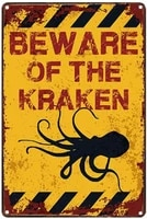 beware of the kraken anti corrosion novelty parking retro metal tin sign plaque poster wall decor art shabby chic gift