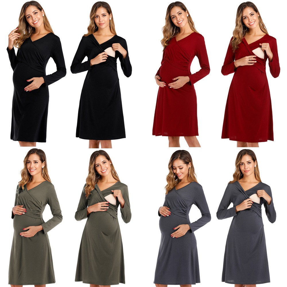 Spring Maternity Wear Cross-chest V-neck Sexy Long-sleeved Nursing Clothes Slim Breastfeeding Clothing Lady Evening Dress S-XXL enlarge