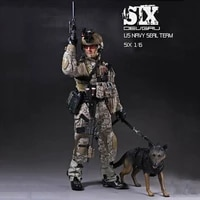 in stock 16 scale playhouse ph us military navy soldier seal team 6 double k9 with dog figure toys