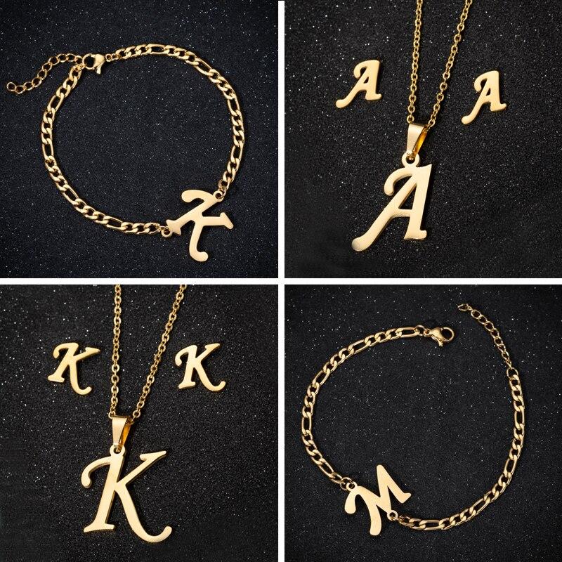 Collar único de moda inicial A-Z 26 letras del alfabeto colgantes collares para mujeres de acero inoxidable joyería nombre Pulseiras