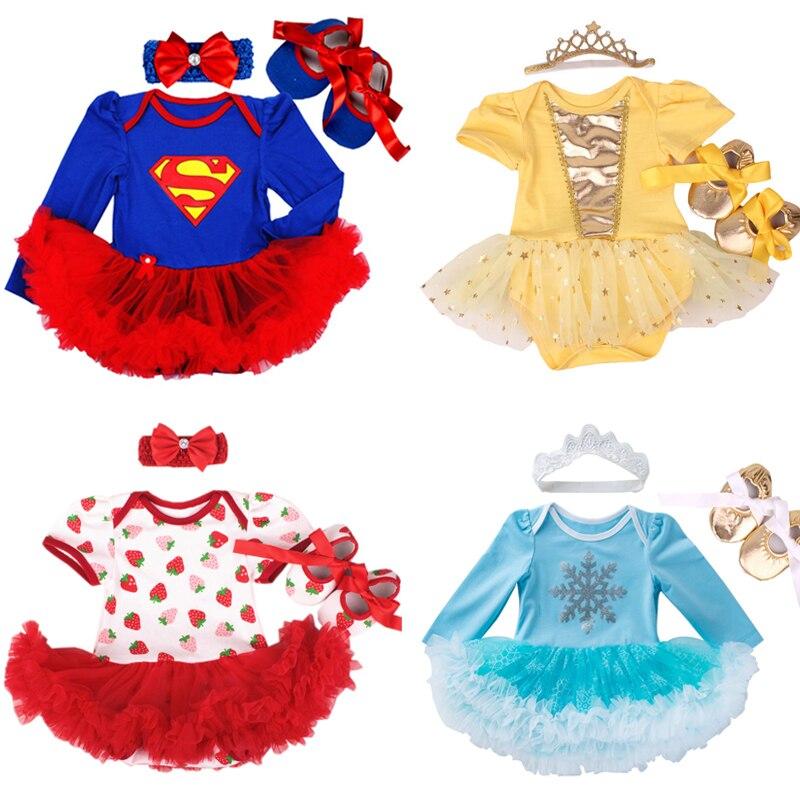 Newborn Baby girl dresses headband shoes set infantil Children's clothing sets girls tutu kids wear summer short sleeve vestido