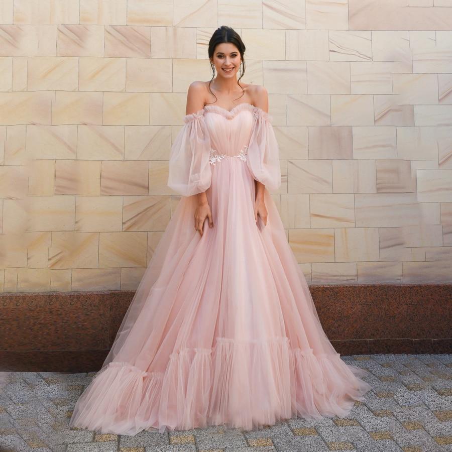 فستان زفاف من التول الوردي ، أكتاف عارية ، أكمام طويلة قابلة للفصل ، برباط علوي