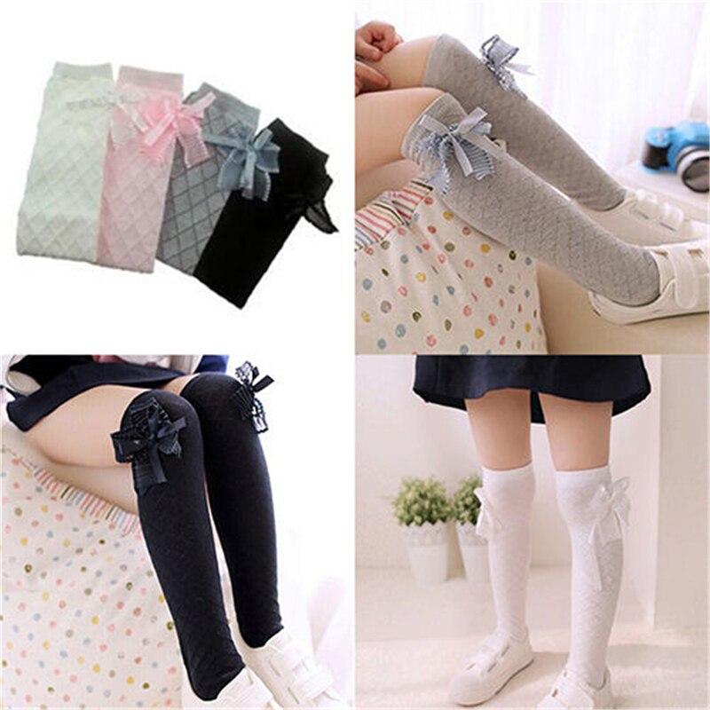Классические-детские-хлопковые-носки-для-девочек-колготки-школьные-чулки-до-колена-с-бантом