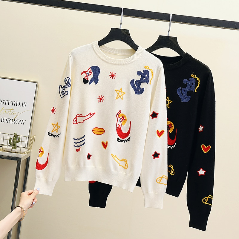 2021 brand Korean Style Loose Sweater Women Pullover Casual o-neck Long Sleeve Knit Sweater Female Jumpers solid basic sweater enlarge