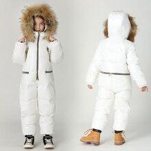 Grande taille enfants combinaison doudoune hiver garçons ski vers le bas costume filles épais chaud hiver outwear enfants siamois doudoune
