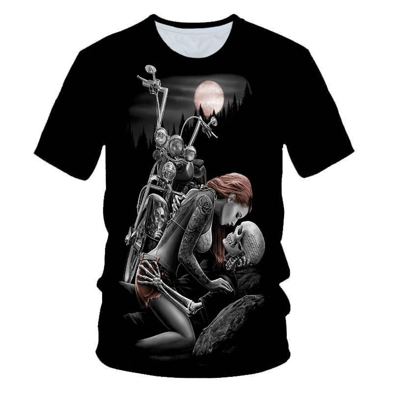 Crâne beauté rock cool 3D tee shirt homme moto punk 3D imprimé tee shirt vetement homme haut dété homme tendance gothique