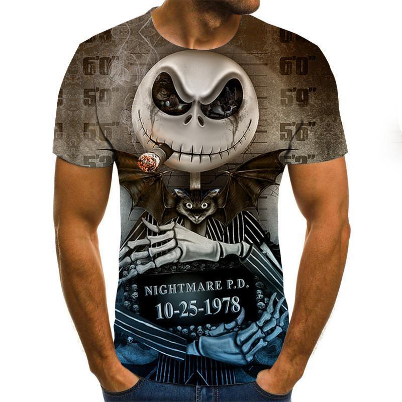 Men clothes 2020 New Mens Summer Skull Print Men Short Sleeve T-shirt 3D print t Shirt Casual Breathable funny t shirts