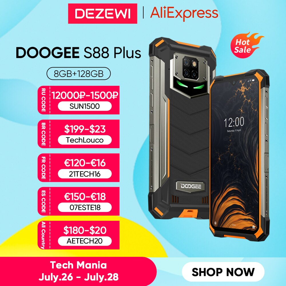 IP68/IP69K DOOGEE S88 Plus هاتف محمول وعر الإصدار العالمي 10000mAh بطارية 48MP كاميرا 8GB 128GB ROM الهاتف الذكي أندرويد 10