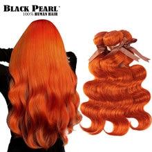 Tissage en lot Body Wave brésilien 100% naturel Remy-Black Pearl   Orange, 8 à 28 pouces, Extension de cheveux humains