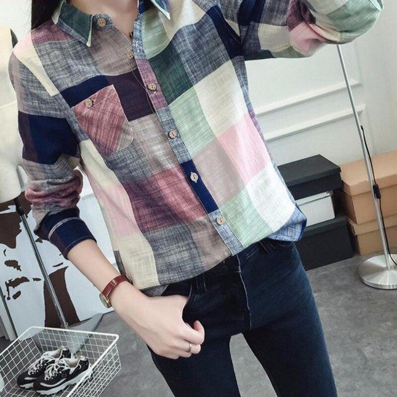 Damen Tops Casual Baumwolle Langarm Kariertes Hemd Frauen Dünne Oberbekleidung Bluse Tops Damen Büro Bluse Rk # E