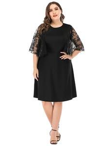 Plus Size Black Midi Dress With Lace Sleeve Patchwork Big Size O Neck Party Dresses Women Elegant