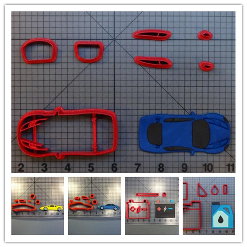 Batería de aceite de coche forma de coche cortadores de fondant para niño Decoración de cumpleaños cupcakes decoración de galletas molde impreso 3D PLA
