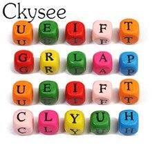 Ckysee 100 stücke Bunte Alphabet Buchstaben Aus Holz Perlen 10mm Spacer Perlen Platz Vier Seiten DIY Schmuck Machen Zubehör