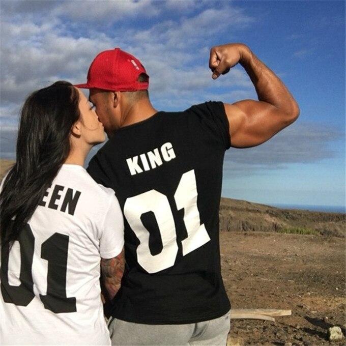 Für Männer Frauen Familie T-shirt Kleidung Femme T-shirt Streetwear T Hemd Homme Schwarz Weiß T Shirt Frauen König Königin Paar T Shirt