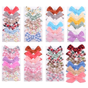 New 6Pcs/Set Plaid Floral Print Bows Hair Clip For Kids Girls Boutique Hairpin 2020 Handmade Barrettes Headwear Hair Accessories
