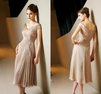 2020 new champagne off the shoulder mother of the bride dresses knee length formal evening gowns robe de soriee