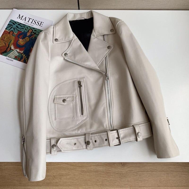 قاطرة نموذج معطف الربيع النساء قصيرة طول استيراد نيوزيلندا سترة جلد الغنم مع Blet جيب الديكور