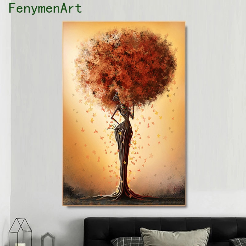 Abstract Black And Gold Woman Tree Canvas Painting African Art Wall Posters Prints Picture For Living Room Home Decor