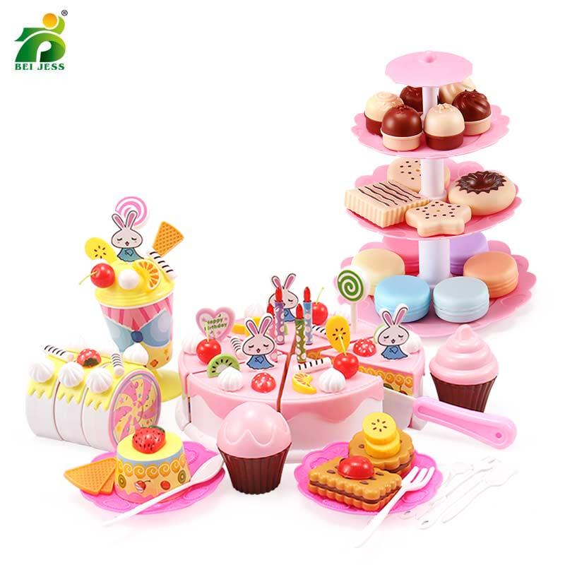 فتاة المطبخ منزل لعبة كعكة الاطفال عيد ميلاد مصغرة محاكاة الغذاء حامل مجموعة دور اللعب لعبة تعليمية لعب للأطفال هدية