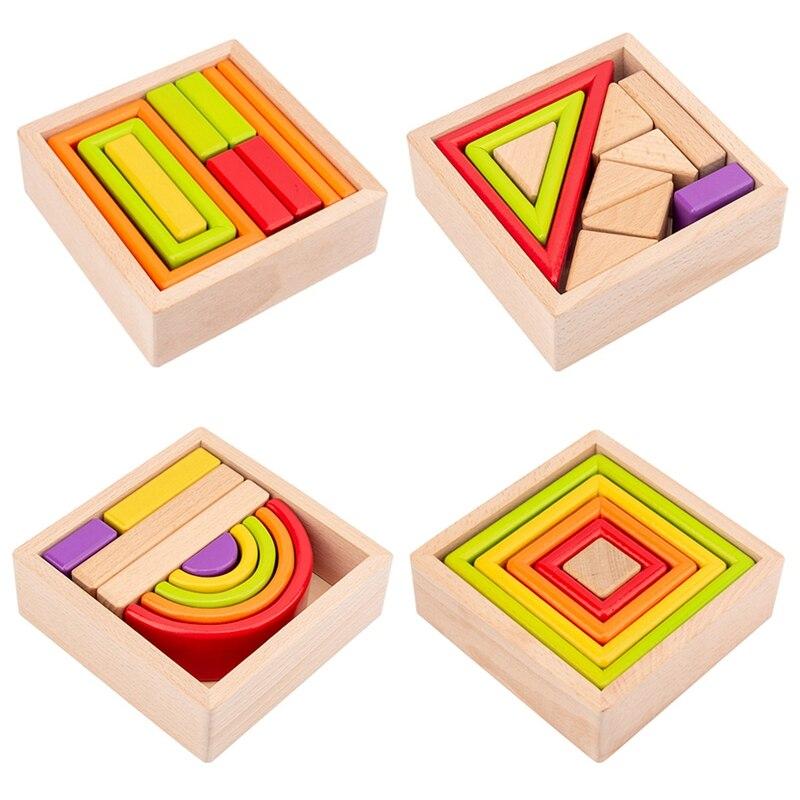 Деревянные радужные игровые строительные блоки, детские строительные блоки, развивающая игрушка