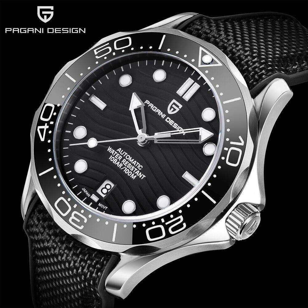 Pagani Design 007 Men's Watches 2021 Ceramic Bezel Mechanical Automatic Watch Men Sport Waterproof Stainless Steel NH35 Luminous