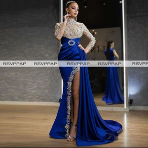 Royal Blue Mermaid Long Women Night Formal Gowns Sexy High Slit Sheer Lace Heavy Beaded Long Sleeve Evening Dresses 2021