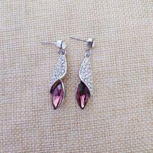 925 sterling silver 100% Fine ladies transparent classic earrings silver grape purple earrings bride Christmas gift E074