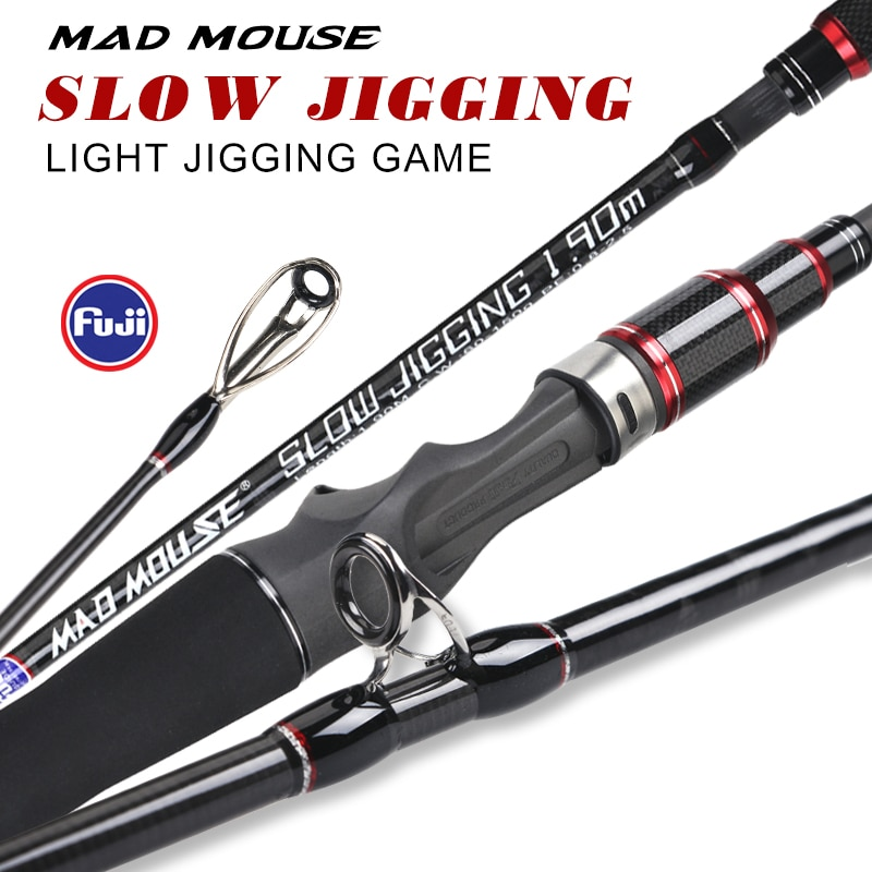 NewJapan full fuji parts MADMOUSE slow jigging rod 1.9M 12kgs lure weight 60-150g boat rod spinning/