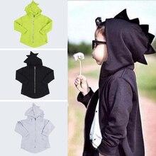 Hooded Baby Boy Dinosaur Hooded Sweatshirt Winter Casual Kids Baby Boys Girls Long Sleeve Cotton Dinosaur Jacket Coat 1-7Years