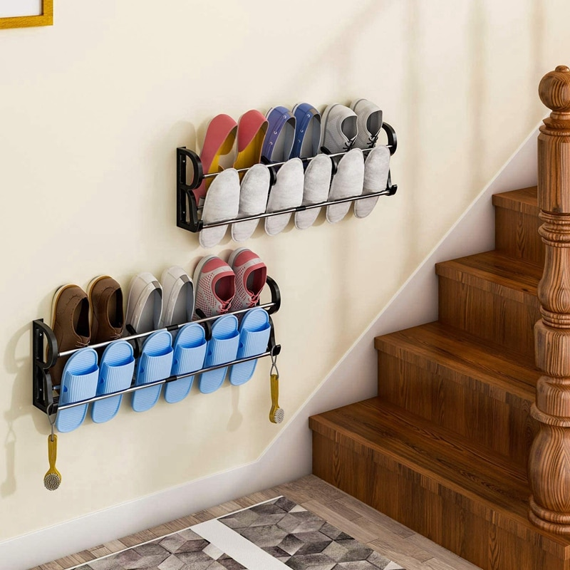2-Pack فوق الباب رف الأحذية جدار باب معلق رف الأحذية المنظم لاصق أداة تنظيم الأحذية الحائط مع S-شكل
