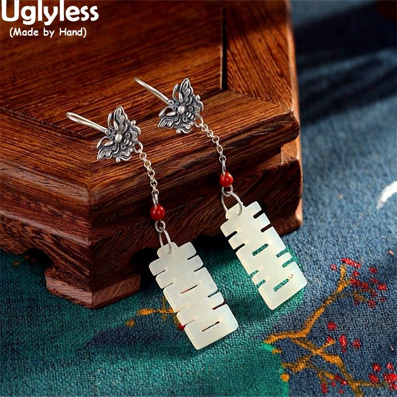 Uglyless China Chic doble XI = feliz mejores deseos regalos joyería fina para mujeres Jade pendientes largos 925 pendientes de mariposa plateados