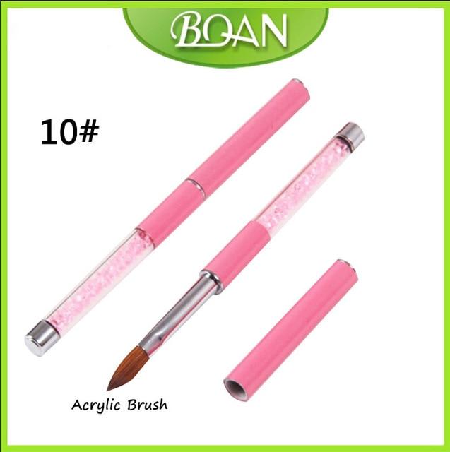 BQAN 10pcs #10 pure kolinsky  Best Seller Pink Rhinestone Handle Kolinsky Acrylic Nail Brush